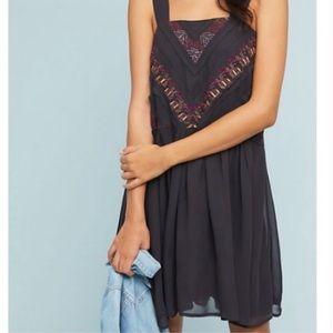 Anthropologie Maeve Haifa Black Embroidered Dress